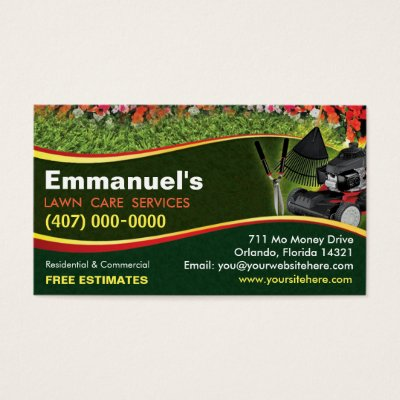 Lawn care or landscaping business card zazzle reheart Image collections