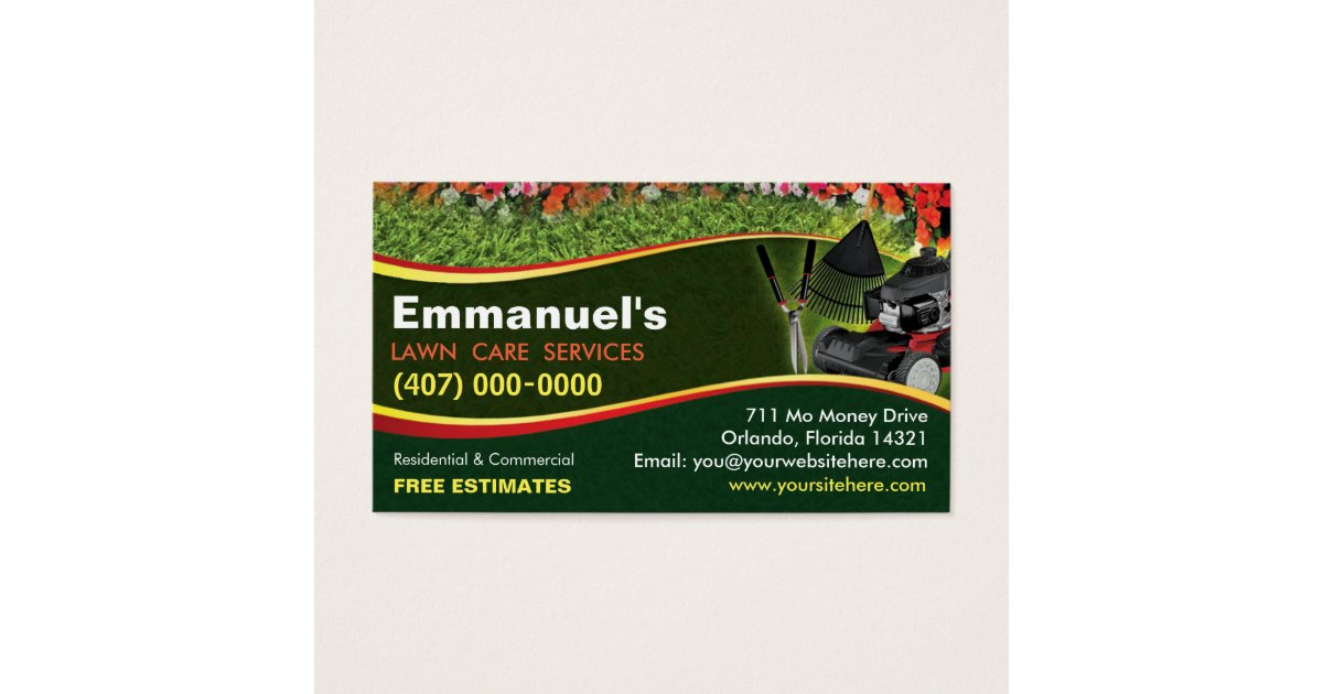 Landscaping Lawn Care Mower Business Card Template   Zazzle.com