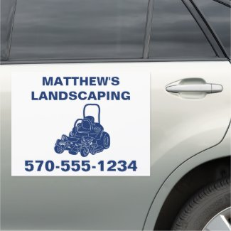 Landscaping Lawn Mowing Business Promotional Car Magnet