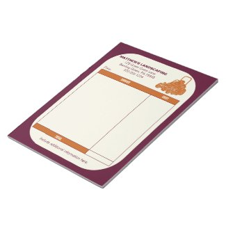 Landscaping Lawn Mowing Business Receipt Invoice Notepad