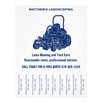 Landscaping Lawn Mowing Flyer with Tear off Strips