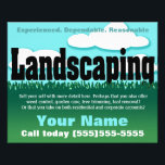"""Landscaping. Lawn service. Customizable Flyer<br><div class=""""desc"""">Glossy little eye-catching 2-sided flyer to help you find customers and earn extra money in lawn care. Bold, bright, modern letters that attract attention in a unique way. Customize text in this template to personalize to your specific needs. This is the season to really promote your business! Hand it out,...</div>"""