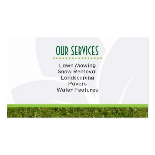 Landscaping Professional Business Card (back side)