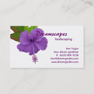 Purple Hibiscus Flowers Tropical Gifts Business Cards | Zazzle