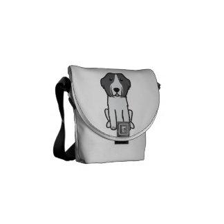 Landseer Dog Cartoon Messenger Bags