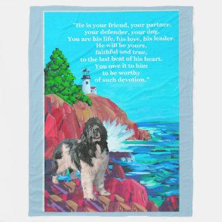 """Landseer Dog with """"Loyalty Poem"""" Fleece Blanket"""