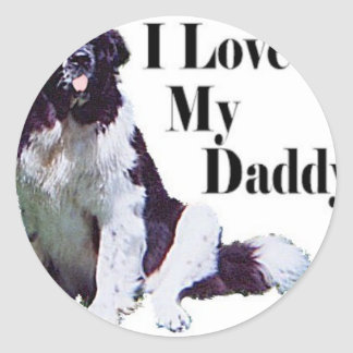 Landseer Loves His Daddy Classic Round Sticker
