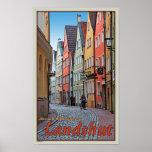 Landshut - Biker on Cobblestone Alley Poster