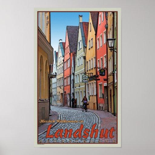 Landshut - motorista en el callejón del guijarro impresiones