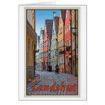 Landshut - motorista en el callejón del guijarro tarjeta de felicitación
