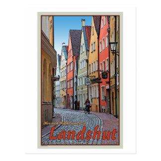 Landshut - motorista en el callejón del guijarro tarjetas postales