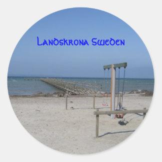 Landskrona Sweden Round Stickers