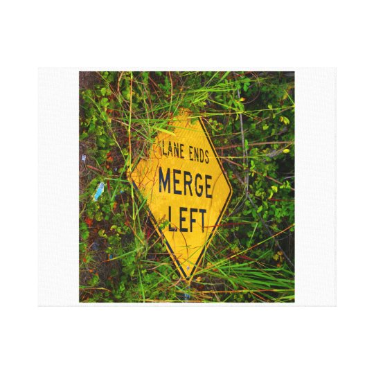 Lane Ends. Merge Left. Bright yellow roadsign Canvas Print