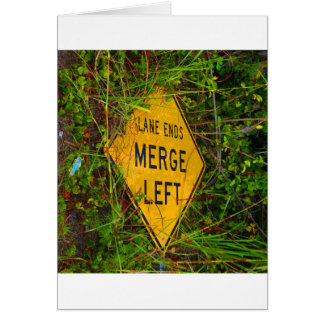 Lane Ends. Merge Left. Bright yellow roadsign Greeting Cards