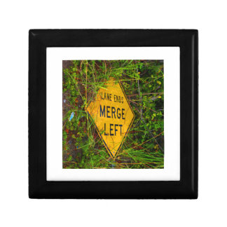 Lane Ends. Merge Left. Bright yellow roadsign Jewelry Box