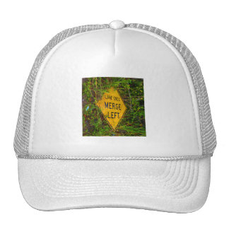 Lane Ends Merge Left Bright yellow roadsign Mesh Hats