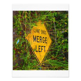 Lane Ends. Merge Left. Bright yellow roadsign Invitations