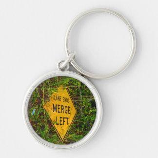 Lane Ends. Merge Left. Bright yellow roadsign Keychain