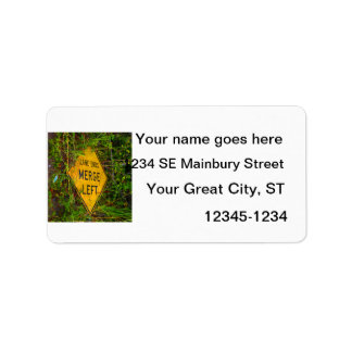 Lane Ends. Merge Left. Bright yellow roadsign Personalized Address Labels