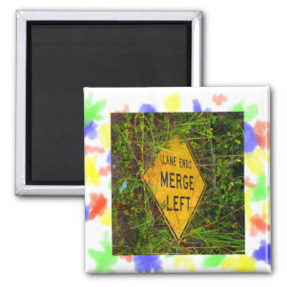 Lane Ends. Merge Left. Bright yellow roadsign 2 Inch Square Magnet