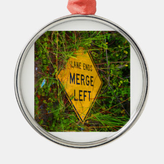 Lane Ends. Merge Left. Bright yellow roadsign Ornament