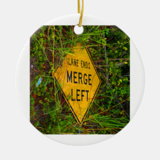 Lane Ends. Merge Left. Bright yellow roadsign Ornaments
