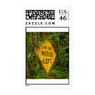 Lane Ends. Merge Left. Bright yellow roadsign Stamp