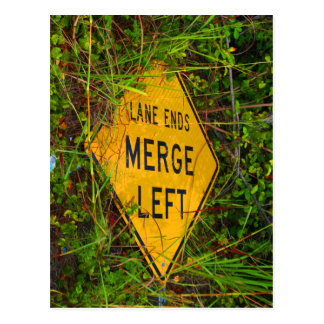 Lane Ends. Merge Left. Bright yellow roadsign Postcard