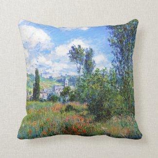 Lane in Poppy Fields Saint-Martin Claude Monet Throw Pillows