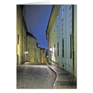 Lane Prague Castle Night Card
