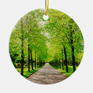 Lane With Green Trees On A Sunny Day Ceramic Ornament