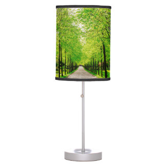Lane With Green Trees On A Sunny Day Table Lamp