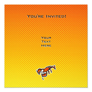 "Langosta amarillo-naranja invitación 5.25"" x 5.25"""