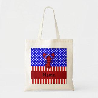 Langosta conocida personalizada patriótica bolsas lienzo