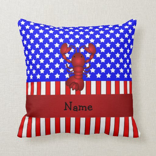 Langosta conocida personalizada patriótica cojin