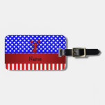 Langosta conocida personalizada patriótica etiquetas para maletas