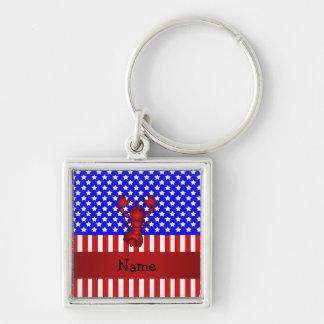 Langosta conocida personalizada patriótica llaveros