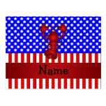 Langosta conocida personalizada patriótica tarjeta postal