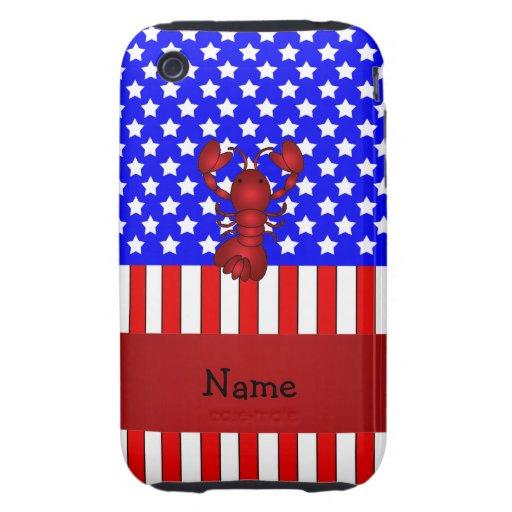 Langosta conocida personalizada patriótica tough iPhone 3 cárcasas