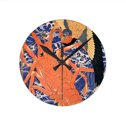 Langosta de Kuniyoshi Reloj De Pared