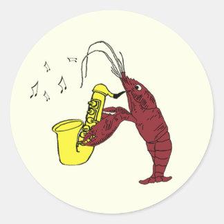 Langosta de los cangrejos del jazz con el saxofón pegatina redonda