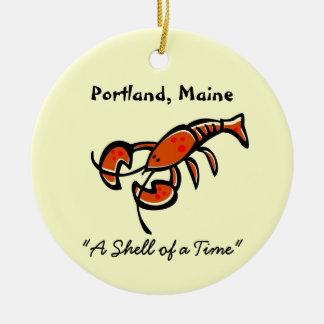 Langosta de Portland, Maine Adorno Navideño Redondo De Cerámica