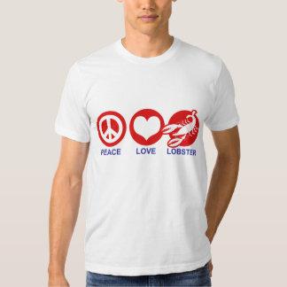 Langosta del amor de la paz playeras