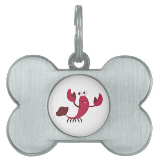 Langosta del dibujo animado placa de mascota