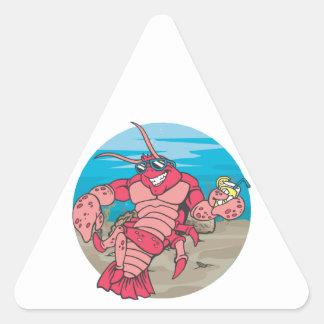 Langosta demasiado fresca pegatinas trianguladas