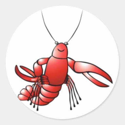 Langosta divertida de los cangrejos pegatina redonda