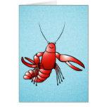 Langosta divertida de los cangrejos tarjeta de felicitación
