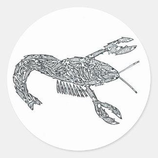 LANGOSTA hecha de pescados Pegatina Redonda
