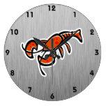 Langosta; Metal-mirada cepillada Reloj De Pared