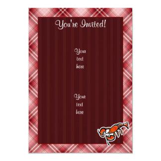 """Langosta roja de la tela escocesa invitación 5"""" x 7"""""""